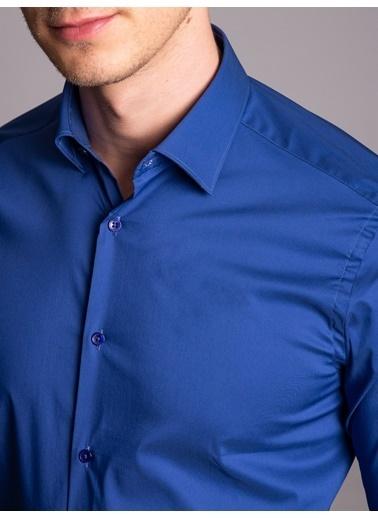 Dufy Sıyah Ince Sık Dokuma Klasık Erkek Gömlek - Ekstra Slım Fıt İndigo